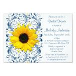 Douche nuptiale florale blanche de bleu marine de cartons d'invitation personnalisés