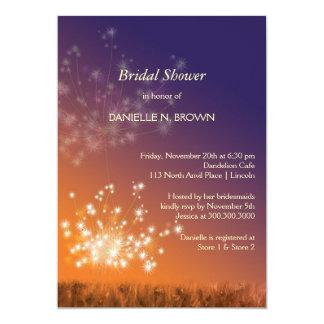 Douche nuptiale florale de pissenlits carton d'invitation  12,7 cm x 17,78 cm