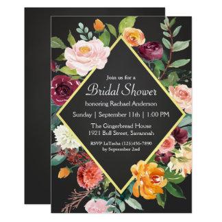 Douche nuptiale florale de tableau rustique carton d'invitation  12,7 cm x 17,78 cm