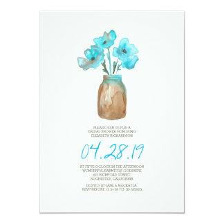 douche nuptiale florale de turquoise d'aquarelle carton d'invitation  12,7 cm x 17,78 cm