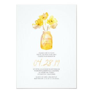 douche nuptiale florale jaune d'aquarelle carton d'invitation  12,7 cm x 17,78 cm