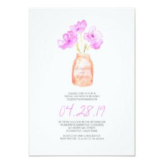 douche nuptiale florale pourpre d'aquarelle carton d'invitation  12,7 cm x 17,78 cm