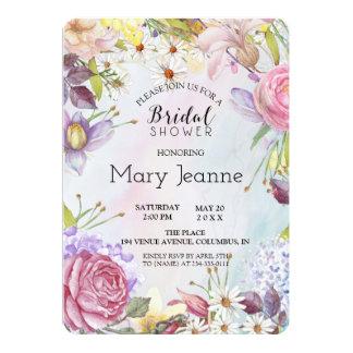 Douche nuptiale florale romantique carton d'invitation  12,7 cm x 17,78 cm