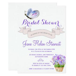 Douche nuptiale française de papillon de lavande carton d'invitation  12,7 cm x 17,78 cm