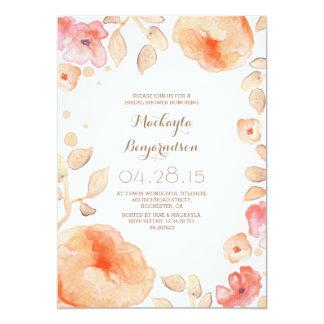 douche nuptiale moderne florale d'aquarelle carton d'invitation  12,7 cm x 17,78 cm