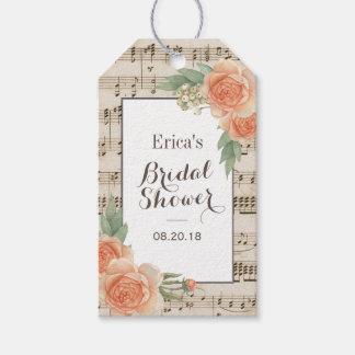 Douche nuptiale musicale élégante florale vintage étiquettes-cadeau
