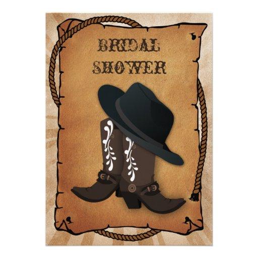 douche nuptiale occidentale de bottes de cowboy faire-part personnalisables