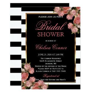 Douche nuptiale - or rose épousant le noir et le carton d'invitation  12,7 cm x 17,78 cm