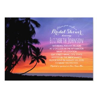 Douche nuptiale orientée de plage de palmier de carton d'invitation  12,7 cm x 17,78 cm