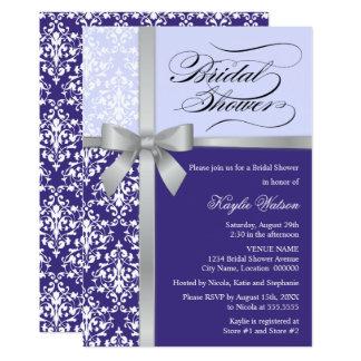 Douche nuptiale pourpre de ruban d'argent de Faux Carton D'invitation 12,7 Cm X 17,78 Cm