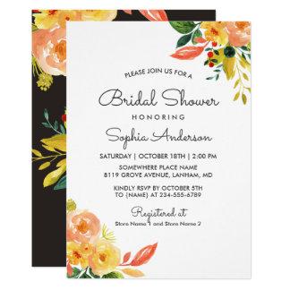 Douche nuptiale saisonnière florale de pêche carton d'invitation  12,7 cm x 17,78 cm