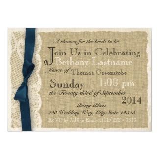Douche nuptiale vintage de dentelle et de toile de invitations