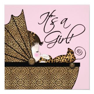 Douche rose de bébé de léopard carton d'invitation  13,33 cm