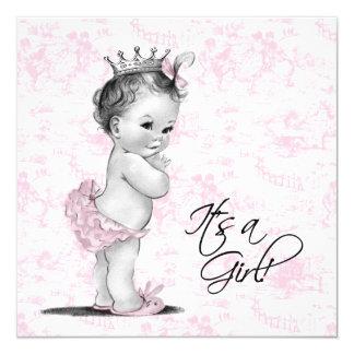 Douche rose de bébé de Toile Carton D'invitation 13,33 Cm