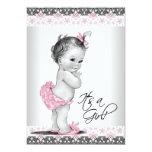 Douche rose et grise vintage de bébé invitations personnalisées