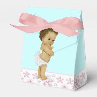Douche rose et turquoise de bébé d'Afro-américain Boites Faveurs De Mariage