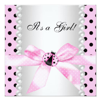 Douche rose noire de bébé de coccinelle de perles carton d'invitation  13,33 cm
