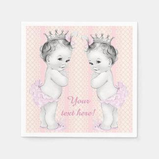 Douche rose vintage de bébé de princesse Twin Serviettes En Papier