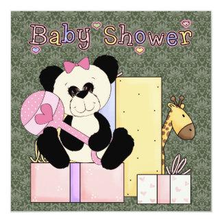 Douche verte rose de bébé d'ours de nounours de carton d'invitation  13,33 cm