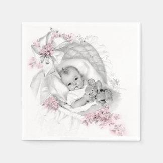 Douche vintage de bébé de berceau serviette en papier