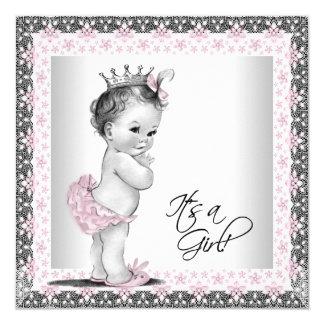 Douche vintage rose et grise de bébé carton d'invitation  13,33 cm