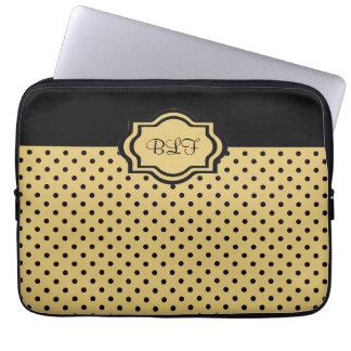 douille chic d'ipad, kakki/monogramme noir de poin trousses pour ordinateur portable