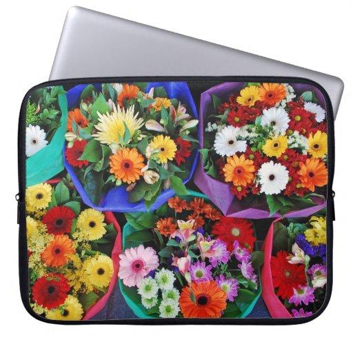 Douille colorée d'ipad de bouquets floraux housses ordinateur