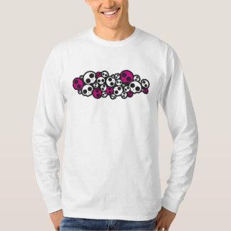 douille de crâne T-shirt rose/blanc d'emo longue