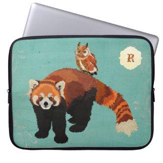 Douille d'ordinateur de panda rouge et de hibou trousses pour ordinateur portable