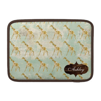 Douille florale de Macbook de motif de girafe Poches Pour Macbook Air