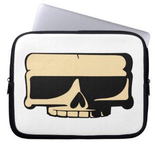Douille jaune d ordinateur portable de crâne trousse ordinateur