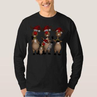 Douille long de vacances de renne pour les hommes t-shirt
