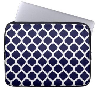 Douille marocaine de bleu marine et blanche d'ordi housses ordinateur portable