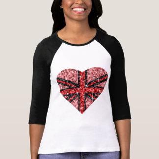 Douille rouge BRITANNIQUE du noir 3/4 de coeur de T-shirt