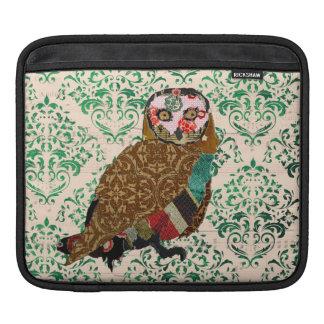 Douille sage d'iPad de damassé de vert de hibou Poches Pour iPad