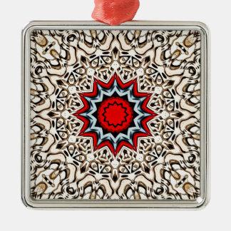 Douze points de mandala ornement carré argenté