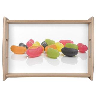 Dragées à la gelée de sucre colorées de bonbons à plateaux de service