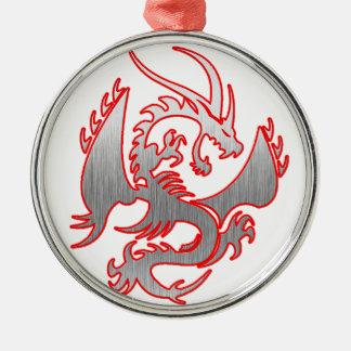dragon4 ornement rond argenté