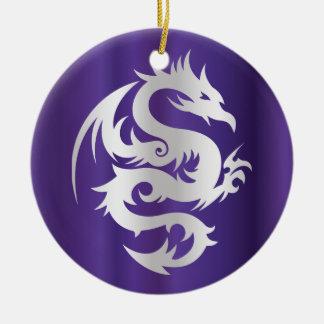 Dragon argenté sur le pourpre impérial ornement rond en céramique