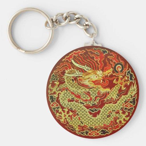 Dragon asiatique d'or brodé sur rouge foncé porte-clé