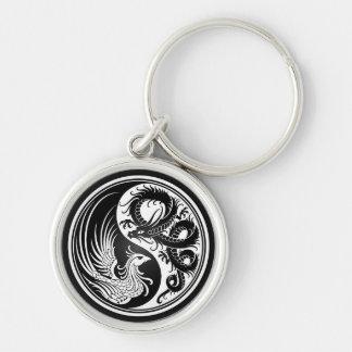 Dragon blanc et noir Phoenix Yin Yang Porte-clé Rond Argenté