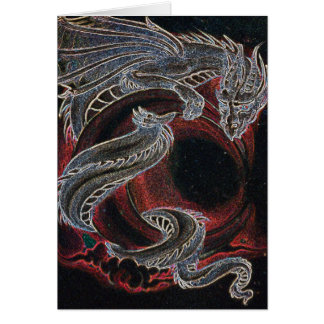 """""""Dragon blanc, lune rouge """" Carte De Vœux"""
