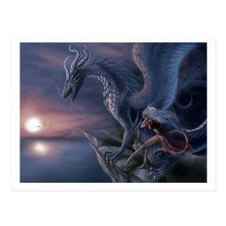 Dragon bleu carte postale