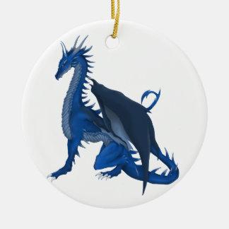 Dragon bleu ornement rond en céramique