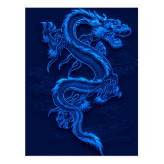 Dragon chinois bleu cartes postales
