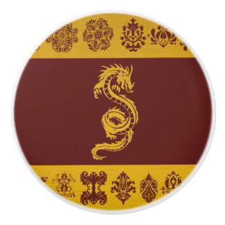 Dragon chinois de mythologie, ornements - or rouge