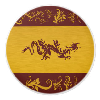 Dragon chinois de mythologie, remous - rouge d'or