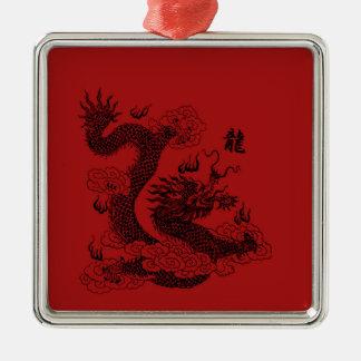 Dragon chinois ornement carré argenté