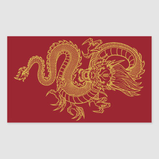 Dragon chinois sticker rectangulaire