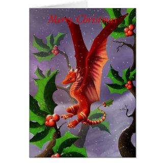Dragon de baie d'hiver carte de vœux